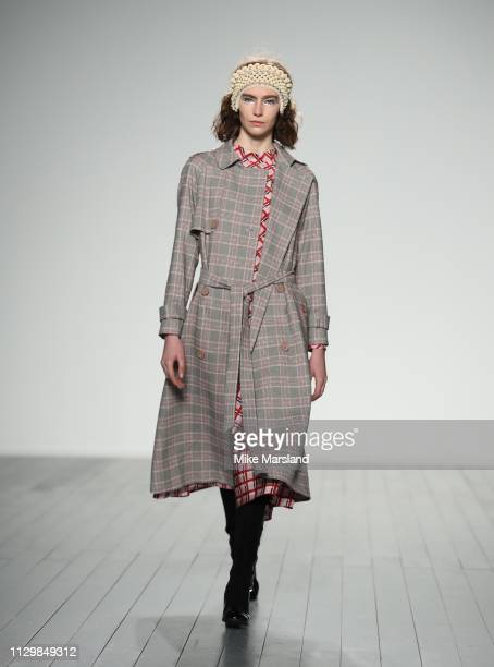 Model walks the runway at the Bora Aksu show during London Fashion Week February 2019 at the BFC Show Space on February 15, 2019 in London, England.