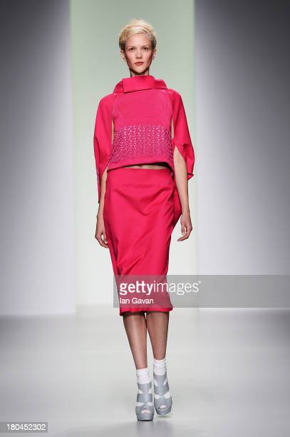 A model walks the runway at the Bora Aksu show during London Fashion Week SS14 at Somerset House on September 13 2013 in London England