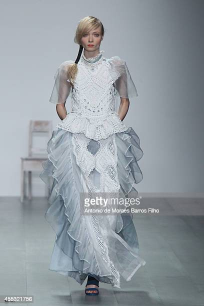 Model walks the runway at the Bora Aksu show during London Fashion Week Spring Summer 2015 at Somerset House on September 12, 2014 in London, England.