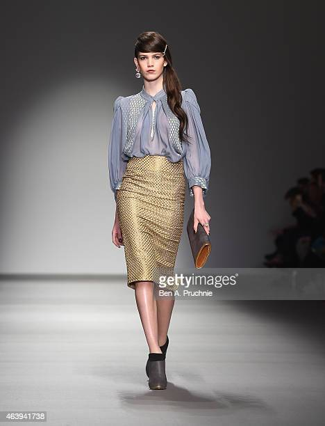 A model walks the runway at the Bora Aksu show during London Fashion Week Fall/Winter 2015/16 at Somerset House on February 20 2015 in London England