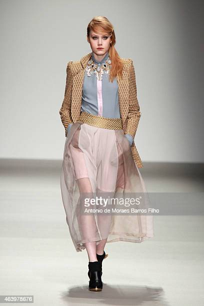 Model walks the runway at the Bora Aksu show during London Fashion Week Fall/Winter 2015/16 at Somerset House on February 20, 2015 in London, England.