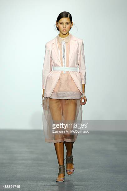 Model walks the runway at the Bora Aksu show during London Fashion Week Spring/Summer 2016 on September 18, 2015 in London, England.