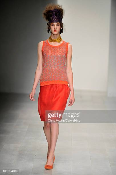 Model walks the runway at the Bora Aksu Spring Summer 2013 fashion show during London Fashion Week on September 14, 2012 in London, United Kingdom.