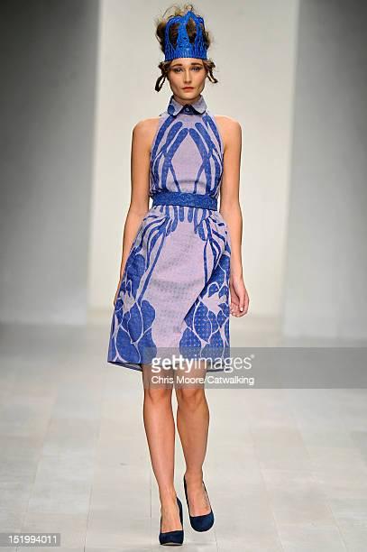 Model walks the runway at the Bora Aksu Spring Summer 2013 fashion show during London Fashion Week on September 14, 2012 in London, United Kingdom.