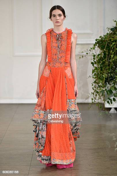 Model walks the runway at the Bora Aksu Spring Summer 2017 fashion show during London Fashion Week on September 16, 2016 in London, United Kingdom.