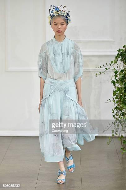 Model walks the runway at the Bora Aksu Spring Summer 2017 fashion show during London Fashion Week on September 16, 2016 in London, United Kingdom.