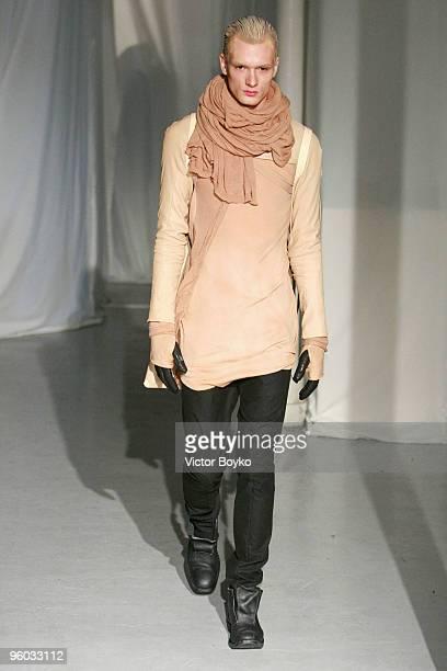 A model walks the runway at the Boris Bidjan Saberi fashion show during Paris Menswear Fashion Week Autumn/Winter 2010 at Galerie de l'Architecture...