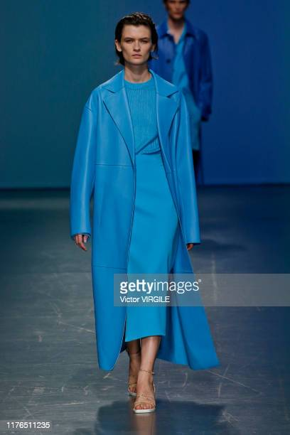 Model walks the runway at the Boss Ready to Wear fashion show during the Milan Fashion Week Spring/Summer 2020 on September 22, 2019 in Milan, Italy.