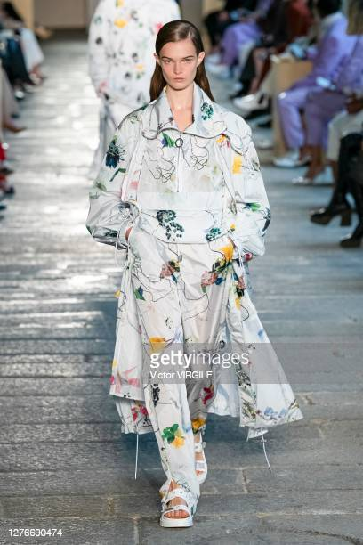 Model walks the runway at the Boss Ready to Wear Spring/Summer 2021 fashion show during the Milan Women's Fashion Week on September 25, 2020 in...