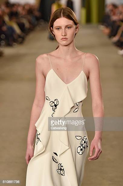 A model walks the runway at the Boss Women Autumn Winter 2016 fashion show during New York Fashion Week on February 17 2016 in New York United States