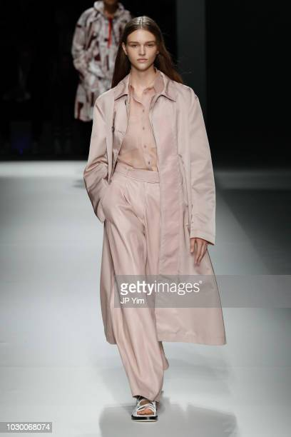 A model walks the runway at the BOSS Womenswear Menswear Spring/Summer 2019 Collection at Pier 36 on September 9 2018 in New York City