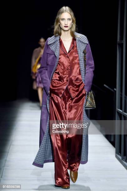 A model walks the runway at the Bottega Veneta Autumn Winter 2018 fashion show during New York Fashion Week on February 9 2018 in New York United...