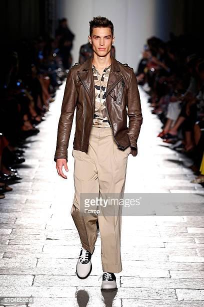 A model walks the runway at the Bottega Veneta designed by Thomas Maier show Milan Fashion Week Spring/Summer 2017 on September 24 2016 in Milan Italy