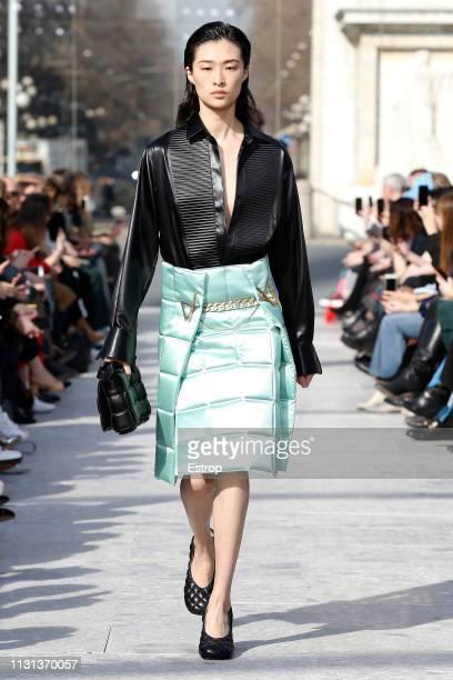 A model walks the runway at the Bottega Veneta show at Milan Fashion Week Autumn/Winter 2019/20 on February 20 2019 in Milan Italy