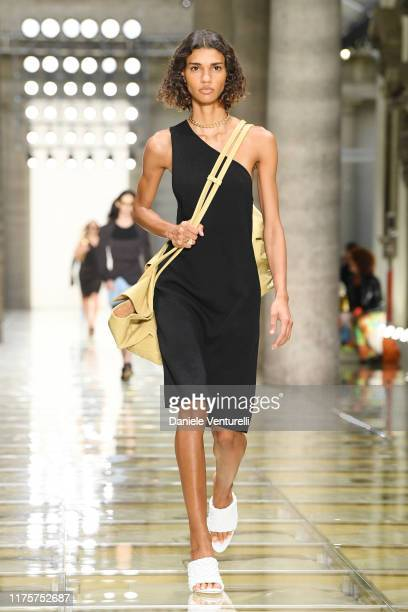 Model walks the runway at the Bottega Veneta show during the Milan Fashion Week Spring/Summer 2020 on September 19, 2019 in Milan, Italy.