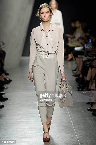 A model walks the runway at the Bottega Veneta Spring Summer 2015 fashion  show during Milan 912a508d2f97d