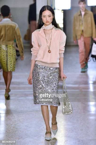 A model walks the runway at the Bottega Veneta Spring Summer 2018 fashion show during Milan Fashion Week on September 23 2017 in Milan Italy