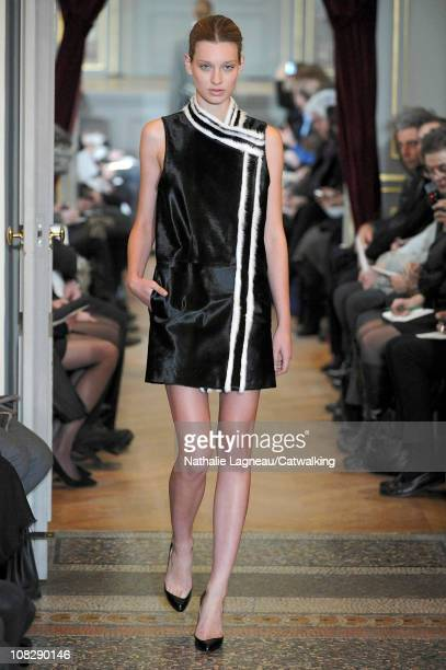 Model walks the runway at the Bouchra Jarrar fashion show during Paris Haute Couture Fashion Week on January 24, 2011 in Paris, France.