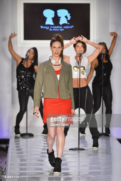 A model walks the runway at the Boy Meets Girl by Stacy Igel fall 2013 fashion show during Conair Style360 at Metropolitan Pavilion on February 13...