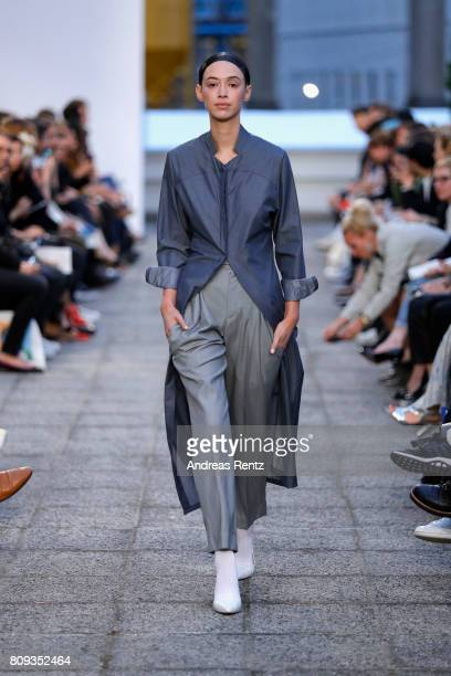 A model walks the runway at the Brachmann Defile during 'Der Berliner Mode Salon' Spring/Summer 2018 at Kronprinzenpalais on July 5 2017 in Berlin...