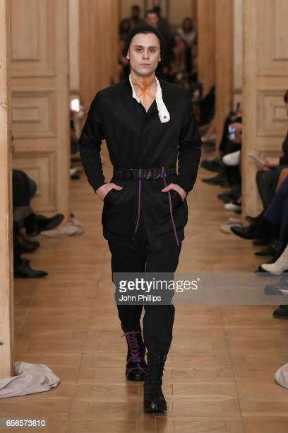 A model walks the runway at the Brand Who show during MercedesBenz Istanbul Fashion Week March 2017 at Grand Pera on March 22 2017 in Istanbul Turkey