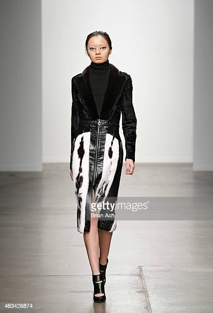 A model walks the runway at the Brandon Sun show during MercedesBenz Fashion Week Fall 2015 at Pier 59 on February 14 2015 in New York City
