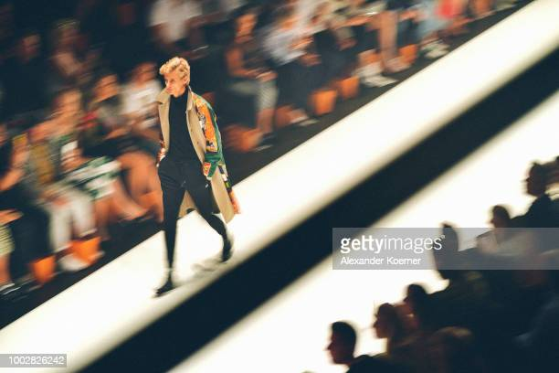 Models walk the runway at the Breuninger show during Platform Fashion July 2018 at Areal Boehler on July 20 2018 in Duesseldorf Germany
