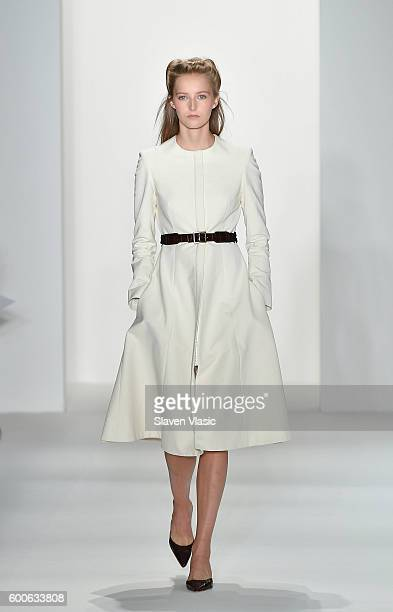 A model walks the runway at the Brock Collection fashion show during New York Fashion Week September 2016 at Milk Studios on September 8 2016 in New...