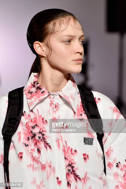 A model walks the runway at the Brognano show at Milan Fashion Week Autumn/Winter 2019/20 on February 23 2019 in Milan Italy
