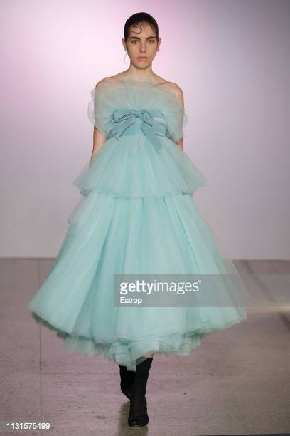 A model walks the runway at the Brognano show at Milan Fashion Week Autumn/Winter 2019/20 on February 20 2019 in Milan Italy