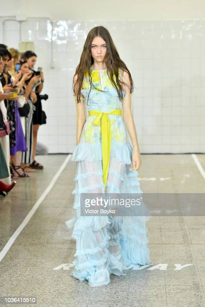 A model walks the runway at the Brognano show during Milan Fashion Week Spring/Summer 2019 on September 20 2018 in Milan Italy