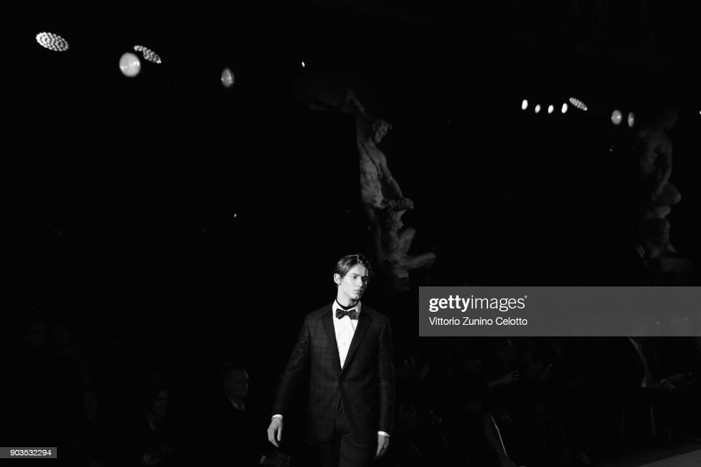 A model walks the runway at the Brooks Brothers show during the 93. Pitti Immagine Uomo at Fortezza Da Basso on January 10, 2018 in Florence, Italy.