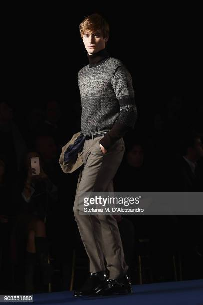 A model walks the runway at the Brooks Brothers show during the 93 Pitti Immagine Uomo at Fortezza Da Basso on January 10 2018 in Florence Italy