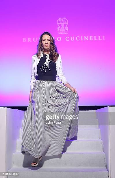 Model walks the runway at the Brunello Cucinelli Show during Destination Fashion 2016 to benefit The Buoniconti Fund to Cure Paralysis the...