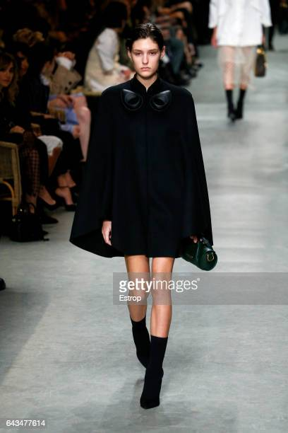 Model walks the runway at the Burberry designed by Christopher Bailey show during the London Fashion Week February 2017 collections on February 20,...