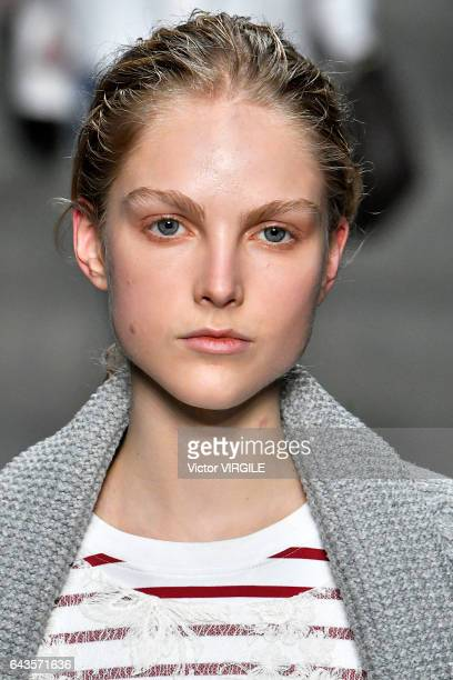 A model walks the runway at the Burberry designed by Christopher Bailey Ready to Wear Fall Winter 20172018 fashion show during the London Fashion...