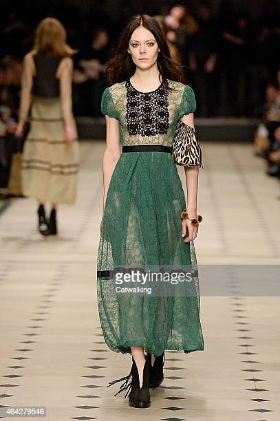 Model walks the runway at the Burberry Prorsum Autumn Winter 2015 fashion show during London Fashion Week on February 23, 2015 in London, United...
