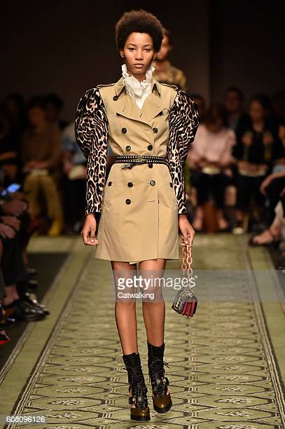 Model walks the runway at the Burberry Prorsum September 2016 fashion show during London Fashion Week on September 19, 2016 in London, United Kingdom.