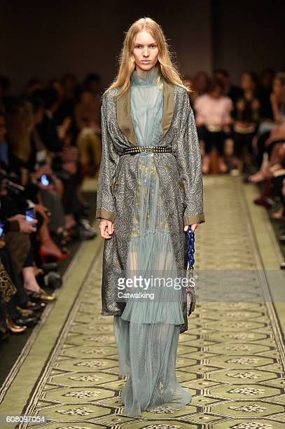 A model walks the runway at the Burberry Prorsum September 2016 fashion show during London Fashion Week on September 19 2016 in London United Kingdom