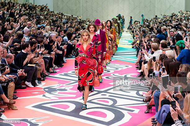 Model walks the runway at the Burberry Prorsum show during London Fashion Week SS15 on September 15, 2014 in London,England.