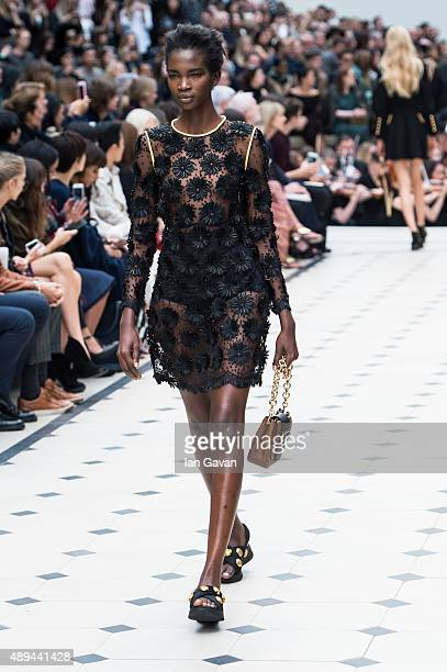 Model walks the runway at the Burberry Prorsum show during London Fashion Week Spring/Summer 2016/17 on September 21, 2015 in London, England.