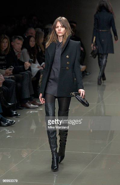 Model walks the runway at the Burberry Prorsum show for London Fashion Week Autumn/Winter 2010 at Chelsea College of Art & Design on February 23,...