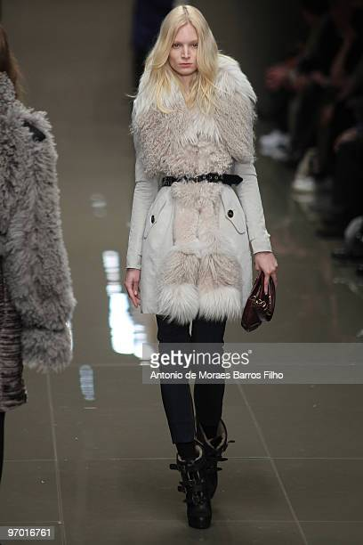 A model walks the runway at the Burberry Prorsum show for London Fashion Week Autumn/Winter 2010 at on February 23 2010 in London England