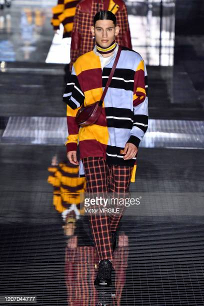 A model walks the runway at the Burberry Ready to Wear Fall/Winter 20202021 fashion show during London Fashion Week on February 17 2020 in London...