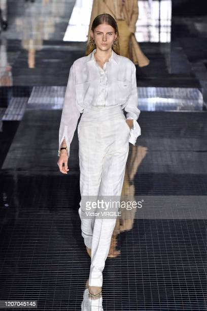 Model walks the runway at the Burberry Ready to Wear Fall/Winter 2020-2021 fashion show during London Fashion Week on February 17, 2020 in London,...