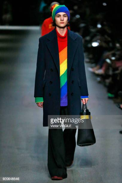 A model walks the runway at the Burberry Ready to Wear Fall/Winter 20182019 fashion show during London Fashion Week February 2018 on February 17 2018...