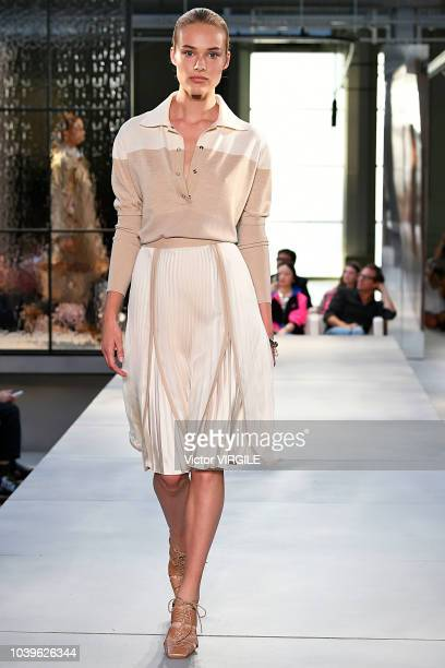 A model walks the runway at the Burberry Ready to Wear Spring/Summer 2019 fashion show during London Fashion Week September 2018 on September 17 2018...