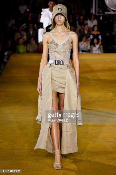 Model walks the runway at the Burberry Ready to Wear Spring/Summer 2020 fashion show during London Fashion Week September 2019 on September 16, 2019...