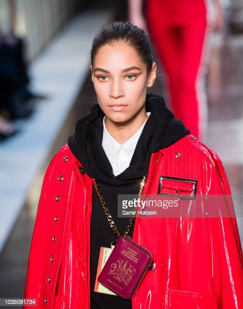 A model walks the runway at the Burberry show during London Fashion Week September 2018 on September 17 2018 in London England