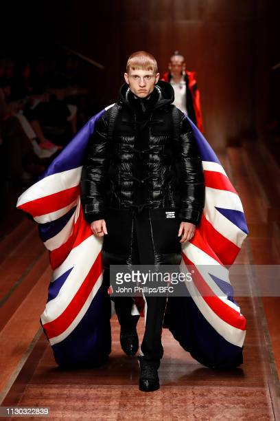 Model walks the runway at the Burberry show during London Fashion Week February 2019 on February 17, 2019 in London, England.